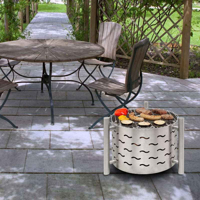 Stylish Silverado Outdoor Stainless Steel Fire Pit with ...
