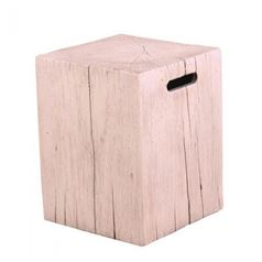 Foremost Natural White Timber Effect Square Stool