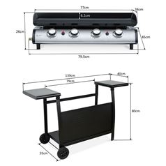 4 Burner Gas BBQ Plancha with Detachable Trolley