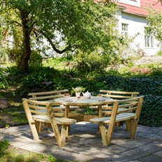 Heavy Duty Round Timber Garden Picnic Table with Backrests
