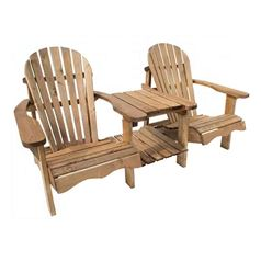 Double Adirondack Relax Wooden Chair with Table