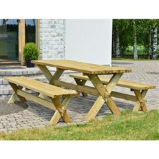 Heavy Duty Retro Wooden Garden Table and Bench set