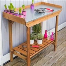 Gardener's Tin Lined Potting Table with Storage Shelf