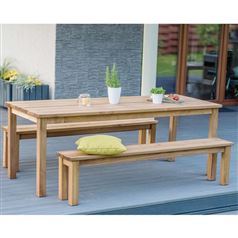 Cesis Wooden Garden Table and Bench Set