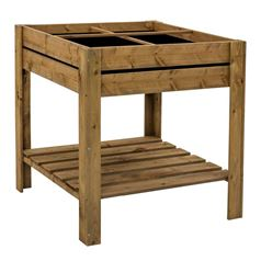 Gardener's Small Four Section Raised Planter With Shelf