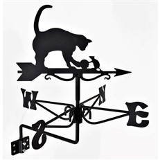 Cat and Mouse Black Mini Weathervane
