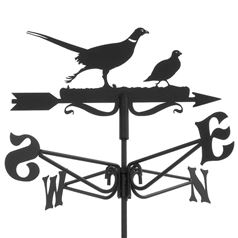 Pheasant and Partridge Black Mini Weathervane