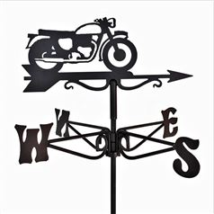Vintage Motorcycle Black Mini Weathervane