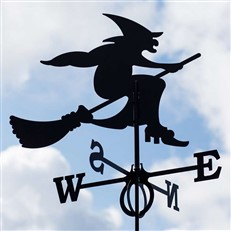 Large Black Steel Witch Weathervane