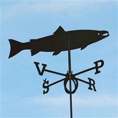 Large Black Steel Salmon Weathervane