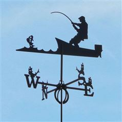 Large Black Steel Fisherman Weathervane