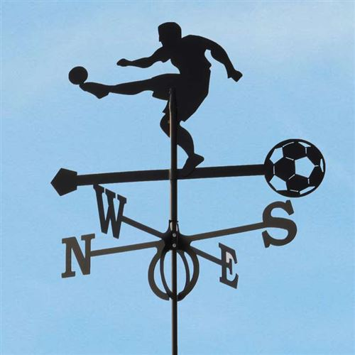 Large Black Steel Football Player Weathervane