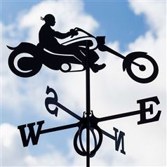 Large Black Steel Biker Weathervane