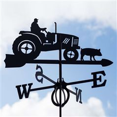 Large Black Steel Tractor Weathervane