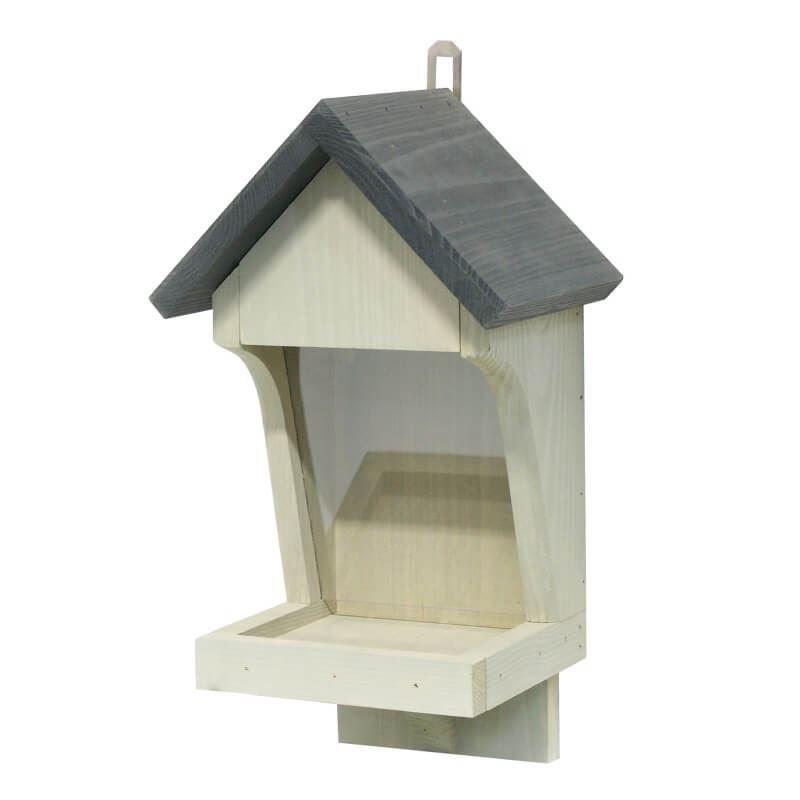 Wall Mounted Wooden Bird Seed Feeder In Grey