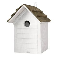 Bird Nest Box in White and Olive