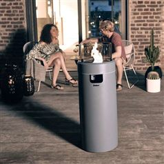 Medium Nova Grey Freestanding Outdoor 30mb Gas Heater with LED Mood Lights