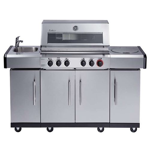 Kansas Pro 4 SIK Profi Turbo Stainless Steel Gas BBQ Grill with Sink