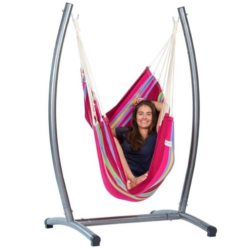 Amazonas Brasil Grenadine Hanging Chair and Omega Stand Set