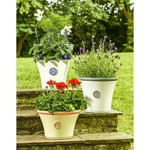 Seville Square Plant Pot in Blue and White