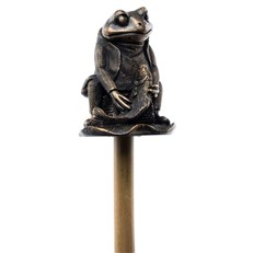 Beatrix Potter's Bronze Mr Jeremy Fisher Cane Companion