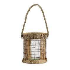 Rustic Birch Hanging Lantern for Candles
