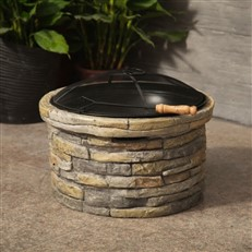 Stylish Stone Fire Pit and Patio Heater