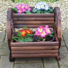 Wooden Two Tier Cartwheel Planter