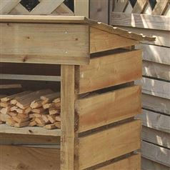 Firewood Log Store with Kindling Shelf