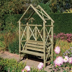 Rustic Garden Seat with Apex Roof