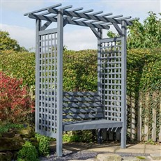 Sorrento Garden Arch with Double Seat in Grey