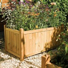 Rectangular Timber Planter with Natural Finish