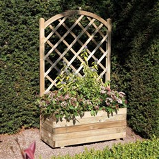 Rectangular Planter with Lattice Panel