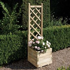 Square Planter with Lattice Panel