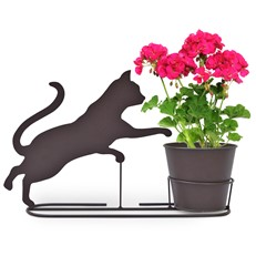 Playful Kitten Silhouette Plant Pot