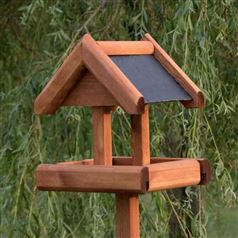 Rustic Bird Table with Slate Roof