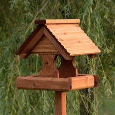 Rustic Bird Table with Timber Roof